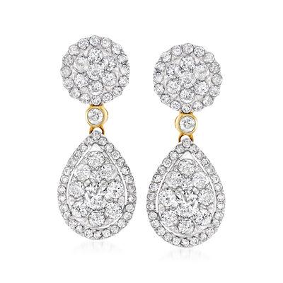2.00 ct. t.w. Diamond Cluster Drop Earrings in 14kt Yellow Gold