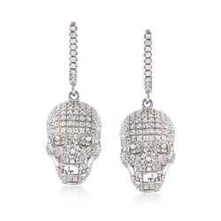 3.15 ct. t.w. CZ Skull Head Drop Earrings in Sterling Silver, , default