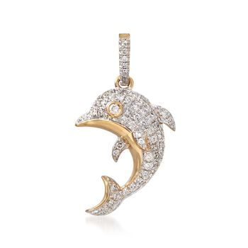 .24 ct. t.w. Diamond Dolphin Pendant in 14kt Yellow Gold, , default