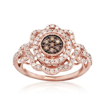 .74 ct. t.w. Brown and White  Diamond Scalloped Halo Ring in 14kt Rose Gold, , default