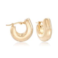 14kt Yellow Gold U-Shaped Huggie Hoop Earrings, , default