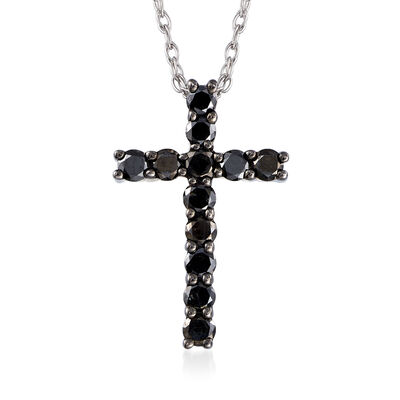 .50 ct. t.w. Black Diamond Cross Necklace in Sterling Silver, , default