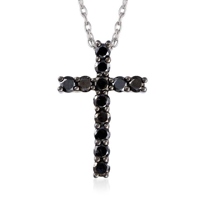 .50 ct. t.w. Black Diamond Cross Necklace in Sterling Silver