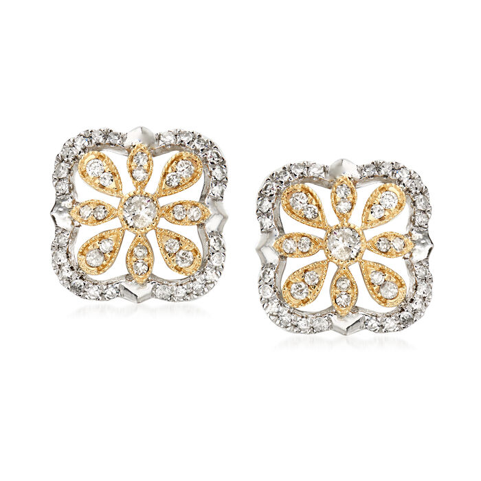 .75 ct. t.w. Diamond Openwork Flower Earrings in Sterling Silver and 14kt Yellow Gold