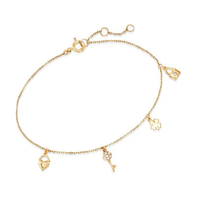 18kt Yellow Gold Multi-Charm Bracelet with CZ Accents, , default