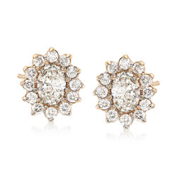 C. 1990 Vintage 1.55 ct. t.w. Diamond Oval Cluster Earrings in 14kt Yellow Gold, , default