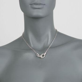 """Charles Garnier """"Violet"""" .29 ct. t.w. CZ Link Necklace in Sterling Silver. 17"""", , default"""