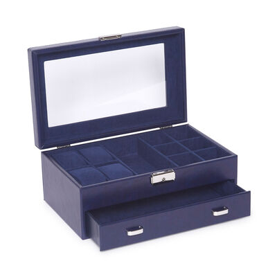 "Brouk & Co. ""Edwin Navy"" Faux Leather Jewelry Box, , default"