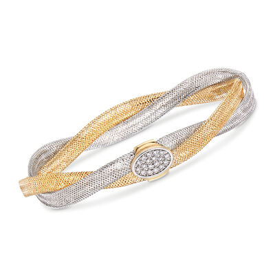 Italian .15 ct. t.w. CZ Double-Strand Twisted Mesh Bangle Bracelet in 18kt Two-Tone Gold, , default