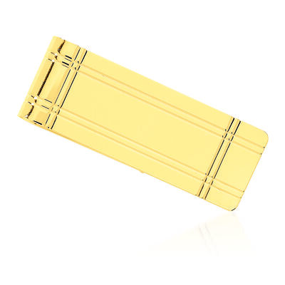 14kt Yellow Gold Grooved Engravable Money Clip, , default