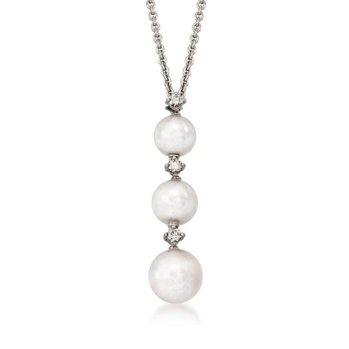 "Mikimoto 5.5-7mm A+ Akoya Pearl Necklace with Diamond Accents in 18kt White Gold. 16"", , default"