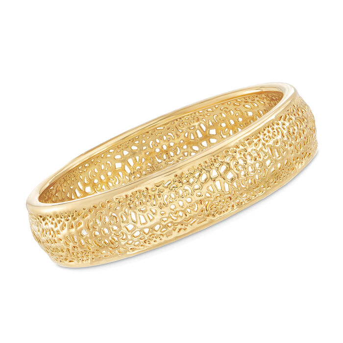 Andiamo 14kt Yellow Gold Openwork Bangle Bracelet, , default