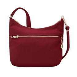 "Travelon ""Anti-Theft Tailored"" Garnet-Red Nylon Twill Hobo Bag, , default"