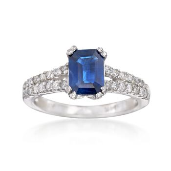 1.70 Carat Sapphire and .42 ct. t.w. Diamond Ring in 14kt White Gold, , default