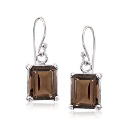 5.50 ct. t.w. Emerald-Cut Smoky Quartz Drop Earrings in Sterling Silver, , default