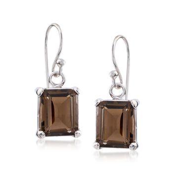 5.50 ct. t.w. Emerald-Cut Smoky Quartz Drop Earrings in Sterling Silver , , default