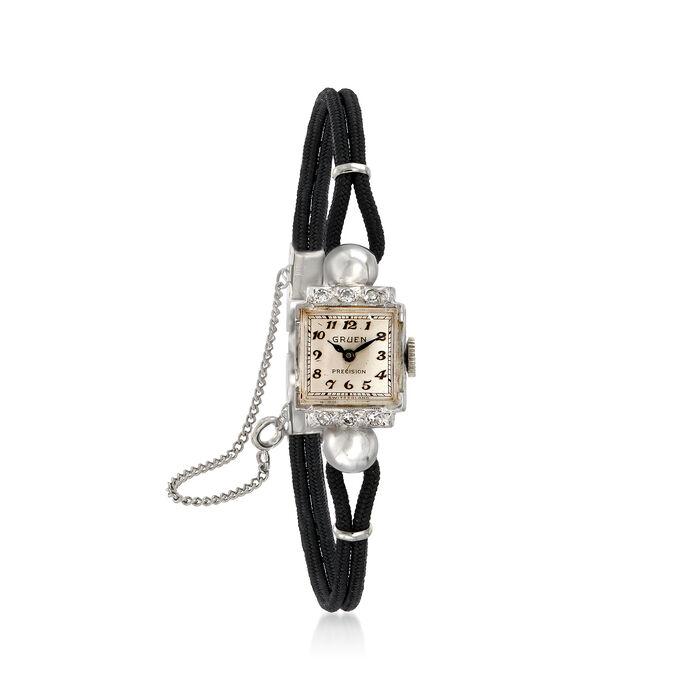 C. 1950 Vintage Gruen Woman's .15 ct. t.w. Diamond 13mm Mechanical Watch in 14kt White Gold. Size 7.25, , default