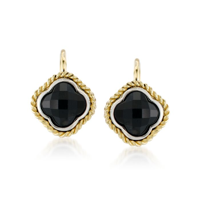 Andrea Candela Black Onyx Clover Earrings in Two-Tone