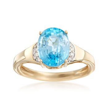 4.10 Carat Blue Zircon Ring With Diamond Accents in 14kt Yellow Gold , , default