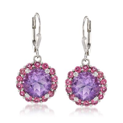 6.25 ct. t.w. Amethyst and 2.10 ct. t.w. Rhodolite Garnet Drop Earrings in Sterling Silver, , default