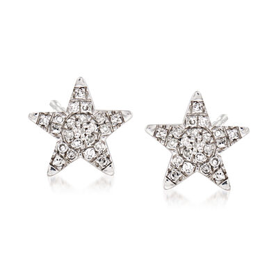 Star Earrings with Diamond Accents in Sterling Silver