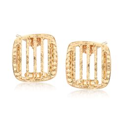 Italian 14kt Yellow Gold Open-Stripe Square Earrings, , default