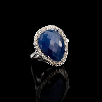 13.00 Carat Sapphire and .37 ct. t.w. Diamond Ring in Sterling Silver, , default