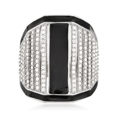 .75 ct. t.w. Diamond and Black Enamel Linear Wide Ring in Sterling Silver