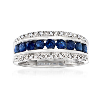 C. 1980 Vintage .75 ct. t.w. Sapphire Ring with Diamond Accents in 14kt White Gold