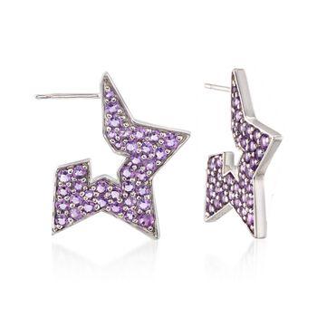 1.90 ct. t.w. Amethyst Star Earrings in Sterling Silver, , default