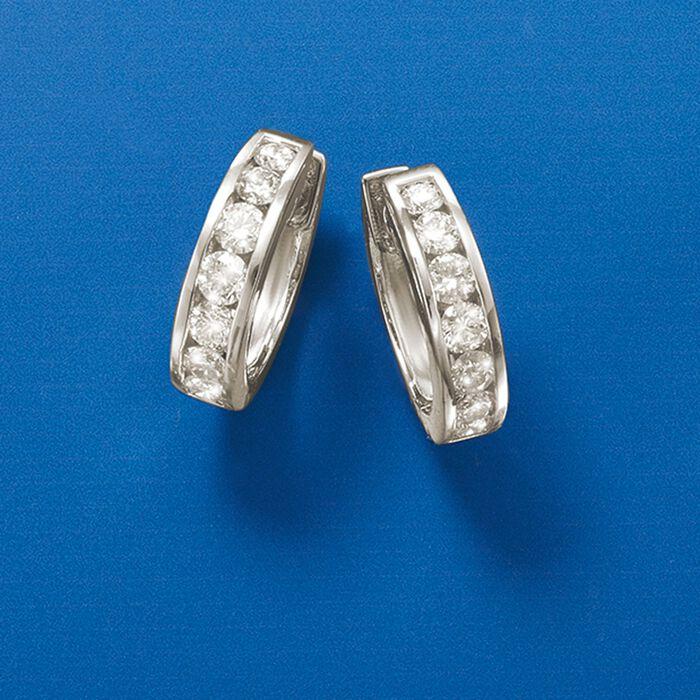 1.00 ct. t.w. Diamond Hoop Earrings in 14kt White Gold