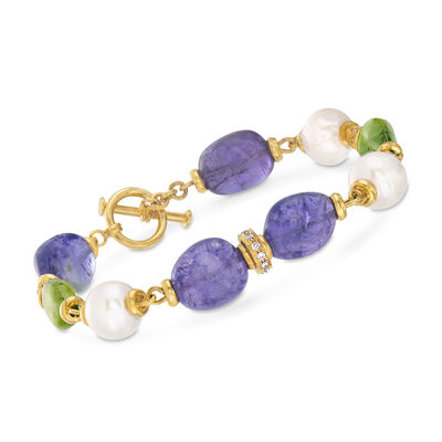 Mazza Multi-Gemstone and .24 ct. t.w. Diamond Bracelet in 14kt Yellow Gold, , default