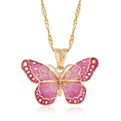 Italian Pink Enamel Butterfly Pendant Necklace in 18kt Yellow Gold, , default