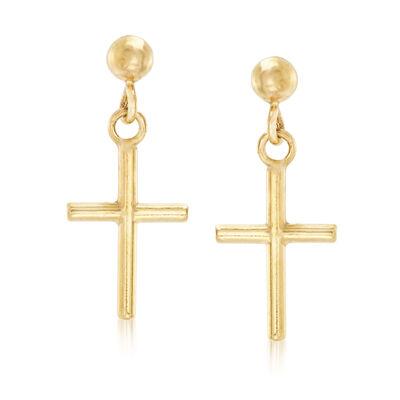 Italian 14kt Yellow Gold Cross Drop Earrings, , default