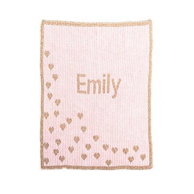 Butterscotch Blankees Personalized Metallic Hearts Blanket, , default