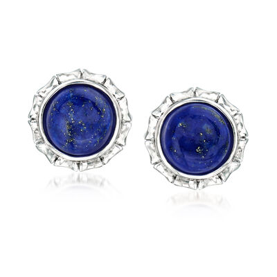 Lapis Stud Earrings in Sterling Silver