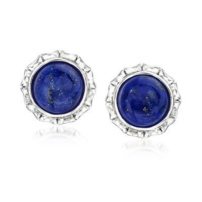 Lapis Stud Earrings in Sterling Silver, , default