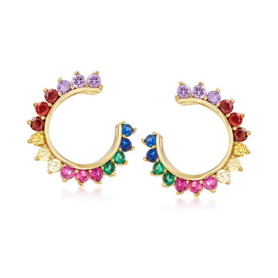 .85 ct. t.w. Multicolored CZ C-Hoop Earrings in 18kt Gold Over Sterling