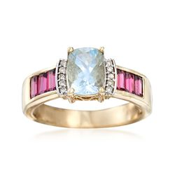 1.50 Carat Aquamarine and .90 ct. t.w. Rhodolite Garnet Ring With Diamond Accents in 14kt Yellow Gold, , default