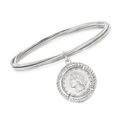 Italian Sterling Silver Lira Coin Triple Bangle Bracelet, , default