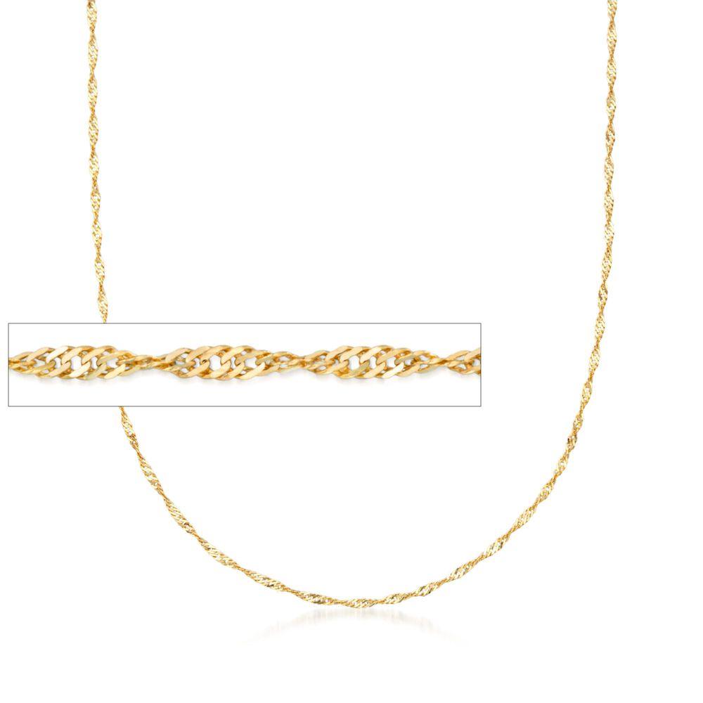 4ca86abb34679 Italian 1.5mm 18kt Yellow Gold Diamond-Cut Singapore Chain Necklace ...