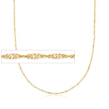 Italian 1.5mm 18kt Yellow Gold Diamond-Cut Singapore Chain Necklace, , default