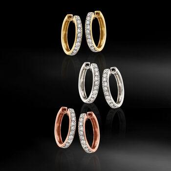 """.50 ct. t.w. Diamond Hoop Earrings in 14kt Yellow Gold. 5/8"""", , default"""