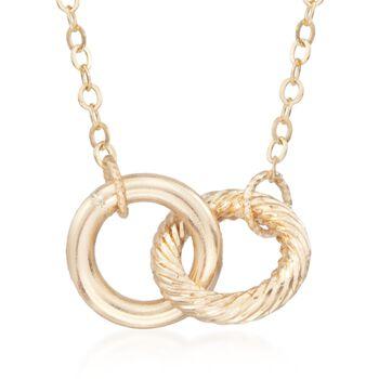 "Italian 14kt Yellow Gold Eternity Circles Necklace. 18.5"", , default"