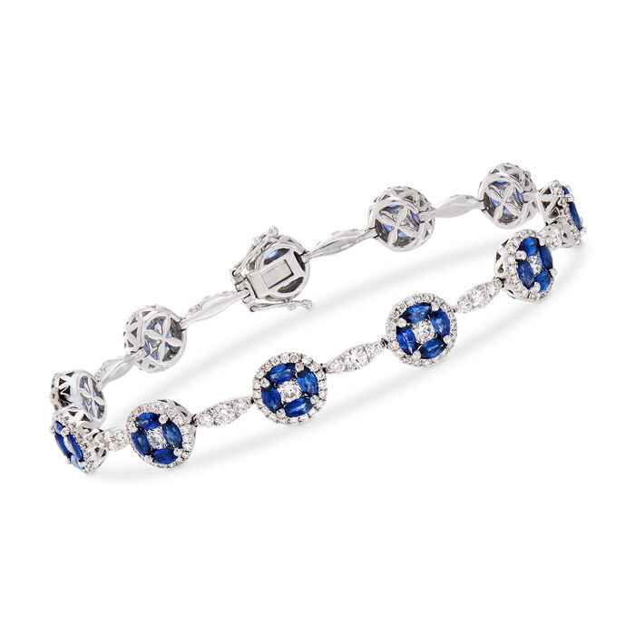 "C. 2000 Vintage 3.78 ct. t.w. Sapphire and 3.36 ct. t.w. Diamond Bracelet in 18kt White Gold. 7"", , default"