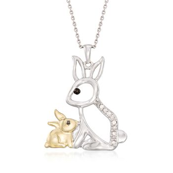 ".10 ct. t.w. Diamond Mother and Baby Bunny Pendant Necklace in Sterling Silver and 18kt Gold Over Sterling. 18"", , default"