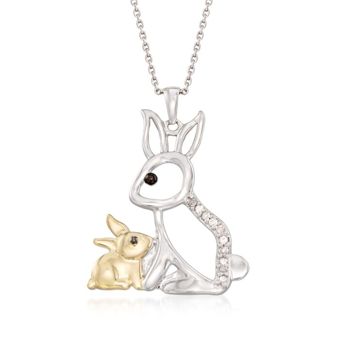 """.10 ct. t.w. Diamond Mother and Baby Bunny Pendant Necklace in Sterling Silver and 18kt Gold Over Sterling. 18"""", , default"""