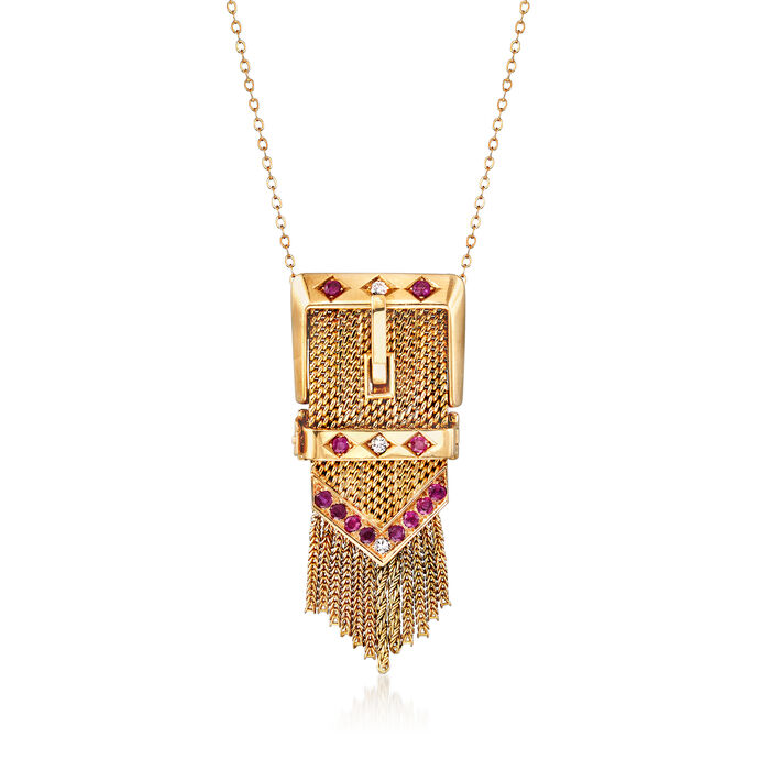 """C. 1950 Vintage .95 ct. t.w. Ruby and .15 ct. t.w. Diamond Slide Buckle Pendant Necklace in 14kt Yellow Gold. 18"""", , default"""