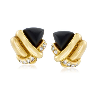 C. 1980 Vintage Black Onyx and .70 ct. t.w. Diamond Knot Clip Earrings in 18kt Yellow Gold