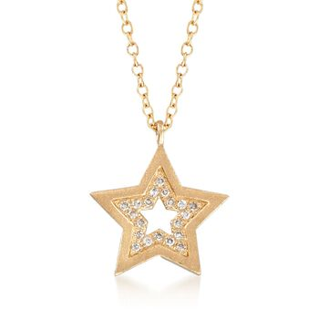 "14kt Yellow Gold Star Necklace With Diamond Accents. 18"", , default"